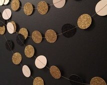 Great Gatsby Party Garland, Party Decorations, Glitter Garland in Black and Gold, Wedding Garland, Birthday Garland, Great Gatsby Party,
