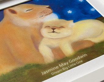 Personalised Nursery Art Lion Picture, Giclée Print, Children's Bedroom Illustration