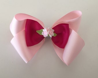 "Light pink & Fuschia 4"" hair bow"