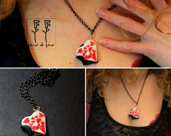 Necklace with heart pendant and many hearts inside-abbracciodicuori-