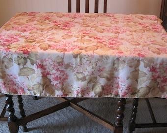 "Tablecloth, 52"" sq. Tablecloth, Hydrangeas Tablecloth, Flowered Tablecloth"