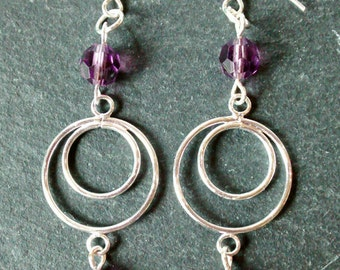 Fluorite and Crystal Glass Drop Earrings