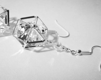 Crystal Caged Drop Earrings
