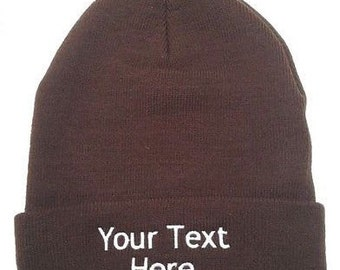 Custom Embroidery (Personalized) Embroidered Name Beanie Knit Cap with cuff-Brown