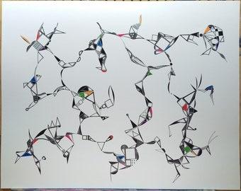 "original abstract ink drawing 19""x24"""