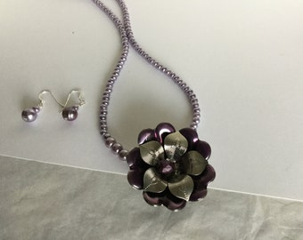 Lavender seed beads with a Metal Flower Pendant Necklace