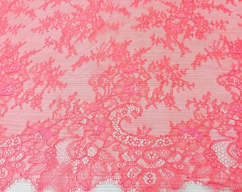 Coral pink tulle lace