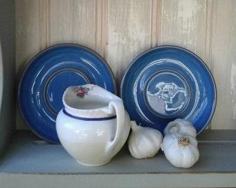 Authentic English Stoneware saucers,stoneware saucers,blue vintage saucers,vintage candle plates,saucers,candle plates,vintage,stoneware,