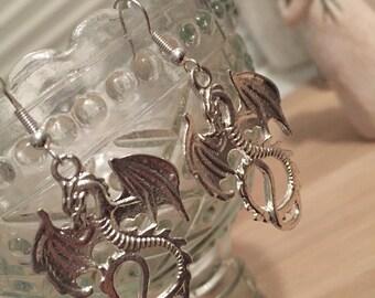 Dragon earrings, dragon jewellery, Game of thrones earrings, mythical earrings, khaleesi inspired, mother of dragons, stocking stuffer