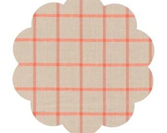 Window dressing cotton fabric. Yarn dye ecru. Ecru coral checkered cotton fabric. Organic appareal and quilt fabric. DIY sewing fabric baby.