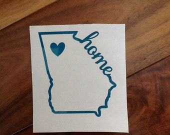 3 in home state decal with repositionalbe heart