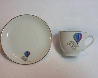 1984 New Orleans World's Fair souvenir cup and saucer