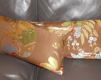Schumacher throw pillows LAMPAS CHINOIS woven silk cotton in Sable Chinoiserie Fabric new PAIR