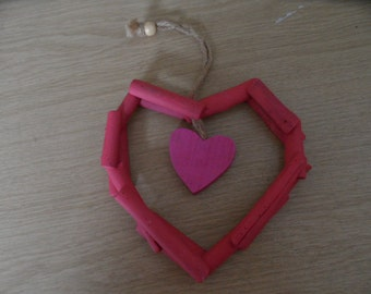 Funky Shabby Chic hanging love heart