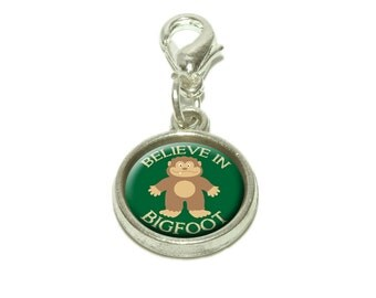 Believe In Bigfoot Sasquatch Dangling Bracelet Pendant Charm