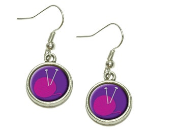 Knit And Caboodle Knitting Yarn Needles Craft Dangling Drop Charm Earrings