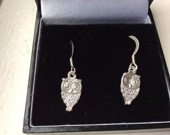 Hand made silver owl earrings