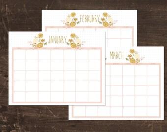 Printable 2017 Floral Calendar