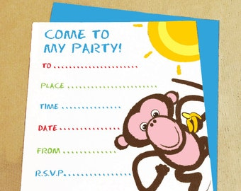 Monkey Party Invitation (Pack Of 8)