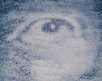 Blue and White Grafitti Eyeball