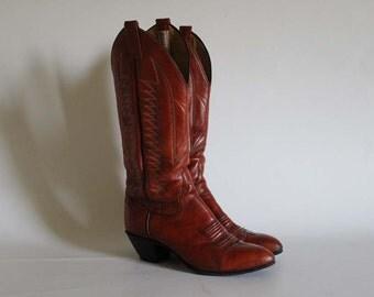 Vintage • Western Boots • Cowboy Boots •Cognac Brown Leather Boots • Leather Boots • Brown  Boots • Cowgirl Boots • EU 40 • US 9 • UK 6.5
