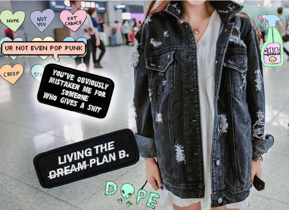 Vintage Ripped Black Denim Jacket S/M Grunge Sarcastic Cynical Patch Detailing