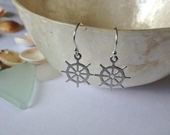 Ships wheel earrings,sterling silver earrings,beach jewellery,nautical jewellery,gifts for her,wheel earrings,silver wheel earrings,summer