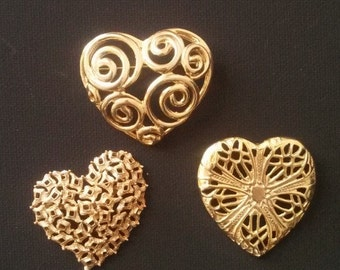 3 Heart Brooches