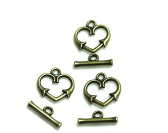 heart toggle clasps | decorative toggle clasps | jewelry supplies | findings | jewelry components | diy jewelry | beadvamp | loose beads