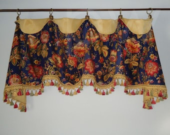Mill Creek Blue and Gold Jacobean Cuff Top Valance
