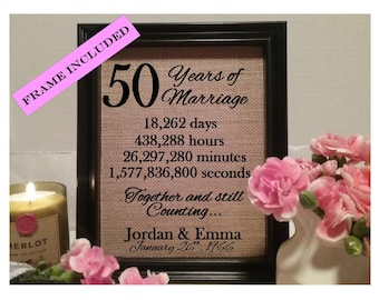 Framed 50th Anniversary Gift | 50th Wedding Anniversary Gifts | Personalized 50th Anniversary Gift | Anniversary Gift for Wife Husband