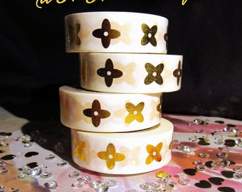 Louis Vuitton Inspired Gold Foil & White Washi Tape