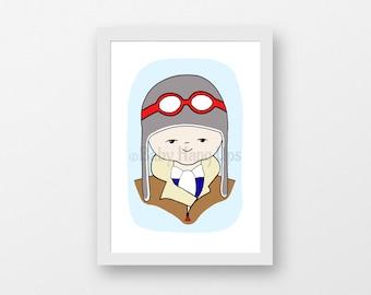Pilot boy, Pilot birthday card, Boy Pilot print, Boys wall art, cute boy pilot