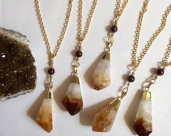 "Raw Citrine & Garnet Necklace // Gold Dipped // Yellow Quartz // 28"" Long // 18k Gold Plated Chain // Healing // Chakra // Raw Crystal"