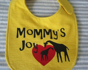 Mommy's Joy, Giraffe Momma & Baby, Zoo Animal SVG Cut File, Vinyl Cutting Design, DIY Tshirt, Onesie, Bib Design