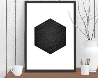 Hexagon Stone Scandinavian style Print, Wall Art, Room Decor, Modern, Minimalist, Poster A4 A3 A2 8x10 11x14 12x18 16x20