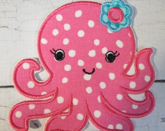 Ready To Ship- 1-3 Business Days -Baby Girl Octopus - Iron On Embroidered Applique