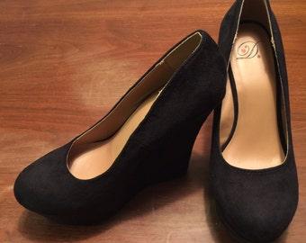 Black Suede Stilettos - Size 7.5