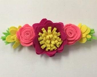 Handmade Felt Flower Headband Crown for baby infant toddler