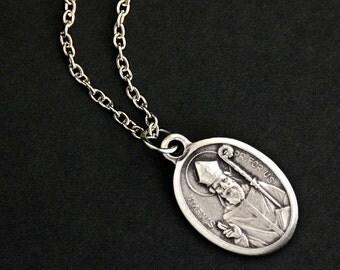 Saint Kevin Necklace. Christian Necklace. St Kevin Medal Necklace. Patron Saint Necklace. Catholic Jewelry. Religious Necklace.