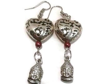 Buddha Heart earrings silver hearts with red crystal and silver Buddha head