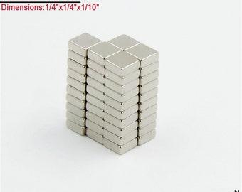 "50-Count Neodymium N42 NdFeb Block Magnets 1/4"" x 1/4"" x 1/10"" (Craft Magnets -Scrabble Tile, Fridge,Glass; Free Shipping"