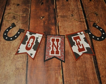 Cowboy 1st Birthday High Chair Banner