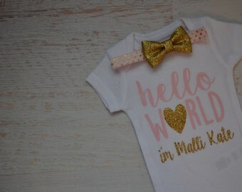 Newborn Baby Girl Hello World Pink Gold Glitter Homecoming Hospital Bodysuit Headband