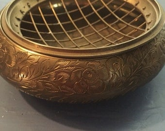 SUMMER SALE Beautiful Antique Brass Ashtray with Flower Etching and Grate