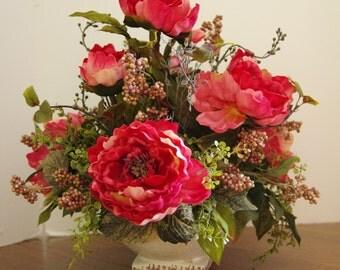Silk Arrangement of Pink Peonies and Pink Variegated Berries Ivory  Bowl