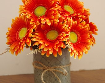 Silk Gerbera Daisy Arrangement in Deco Tin