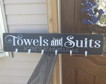 Towels & suits // outdoor // pool/ wood sign