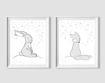 Woodland Set Wall Art,Woodland Nursery,Bunny and Fox Printable Nursery,Bunny Fox Children Art,Set Nursery Woodland Animal.Woodland Printable