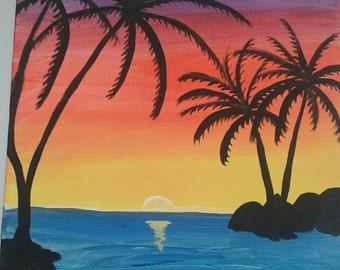 Tropical beach sunset original acrylic painting